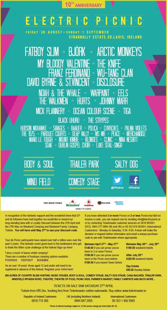 electric picnic 2013 lineup